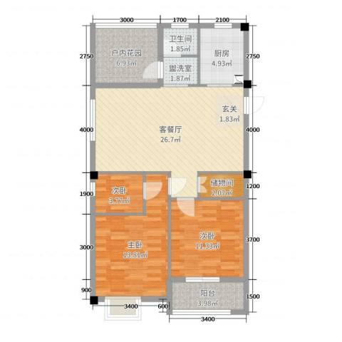天瑞公馆3室2厅1卫1厨102.00㎡户型图