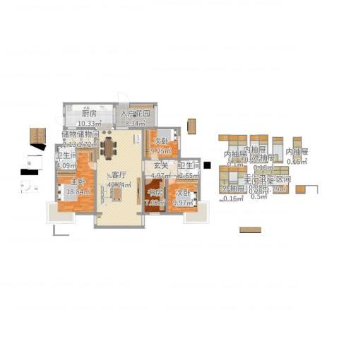缙云小区4室1厅2卫1厨188.00㎡户型图