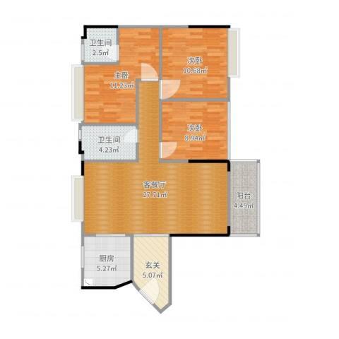 诚丰新园3室2厅2卫1厨80.12㎡户型图