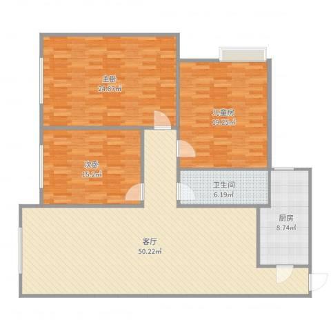 东方新天地3室1厅1卫1厨156.00㎡户型图