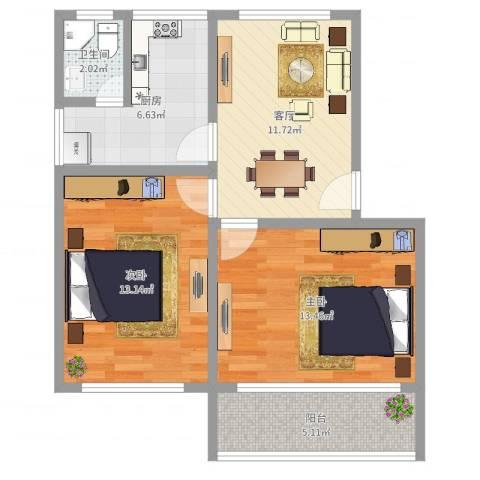 张桥小区2室1厅1卫1厨52.10㎡户型图