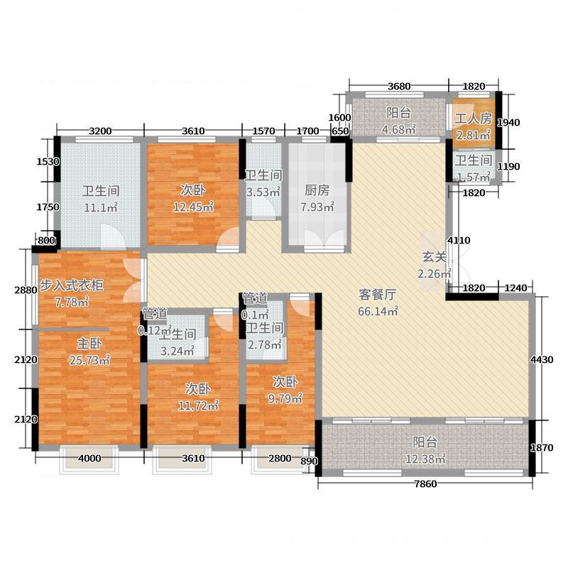 新华御湖庄园220.00㎡户型5室5厅2卫1厨