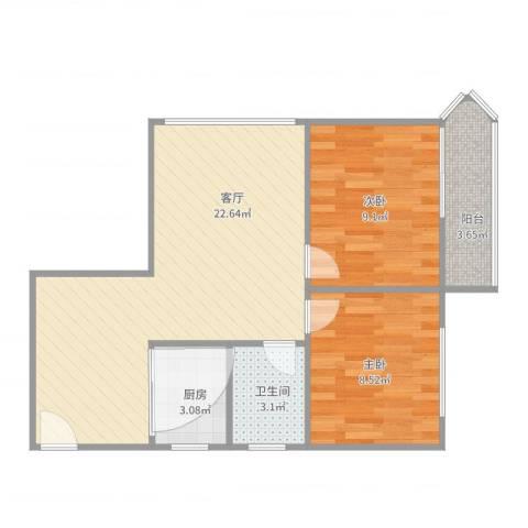 龙珠花园72平朝东2室1厅1卫1厨63.00㎡户型图