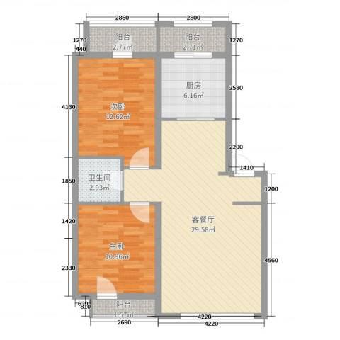 英伦华府2室2厅1卫1厨101.00㎡户型图