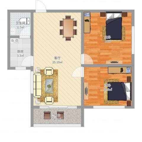 晓园新村2室1厅1卫1厨75.00㎡户型图