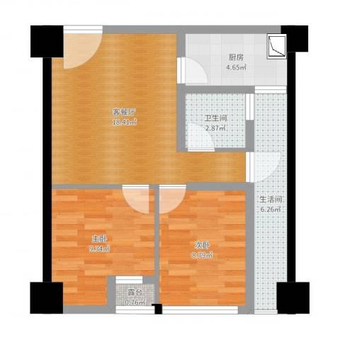 司南3空间2室2厅1卫1厨64.00㎡户型图