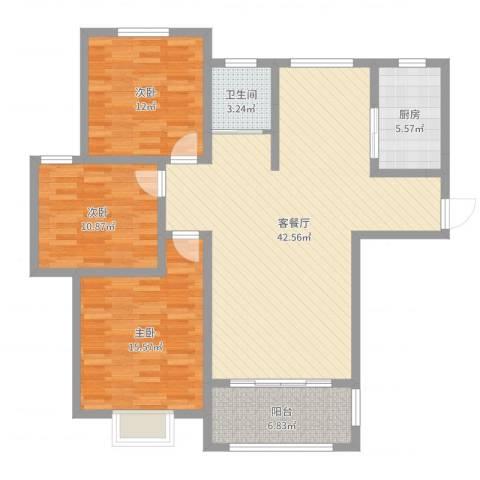 郑萍华府天地3室2厅1卫1厨121.00㎡户型图