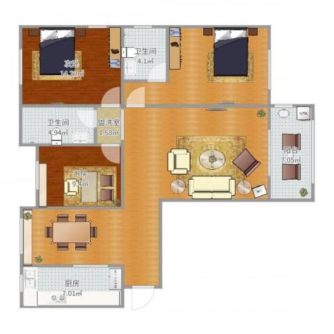 阳光家天下2室2厅2卫1厨132.00㎡户型图