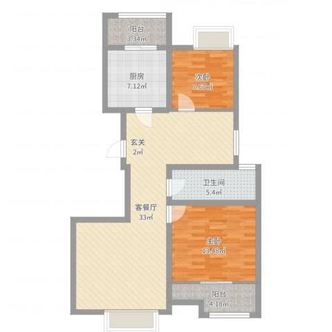 徐州金都华府2室2厅1卫1厨93.00㎡户型图
