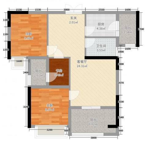 融耀江滨御景3室2厅1卫1厨89.00㎡户型图