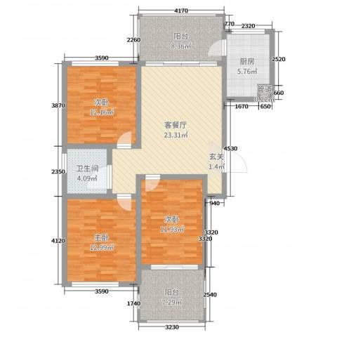 谦诚水岸枫情3室2厅1卫1厨108.00㎡户型图