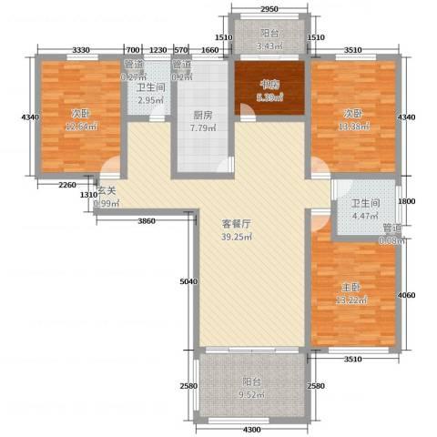 谦诚水岸枫情4室2厅2卫1厨141.00㎡户型图