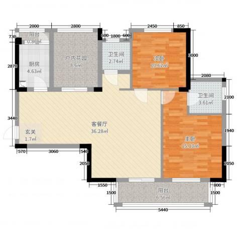 天瑞公馆2室2厅2卫1厨117.00㎡户型图