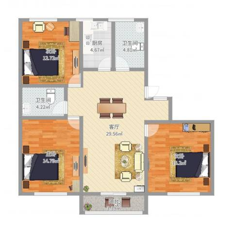 双秀家园北园3室1厅2卫1厨112.00㎡户型图