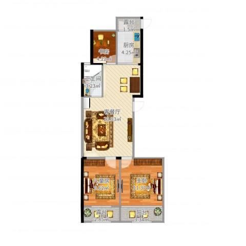 高新城市广场3室2厅1卫1厨80.00㎡户型图