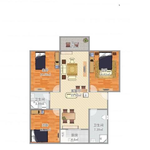天瑞名城3室2厅2卫1厨120.00㎡户型图