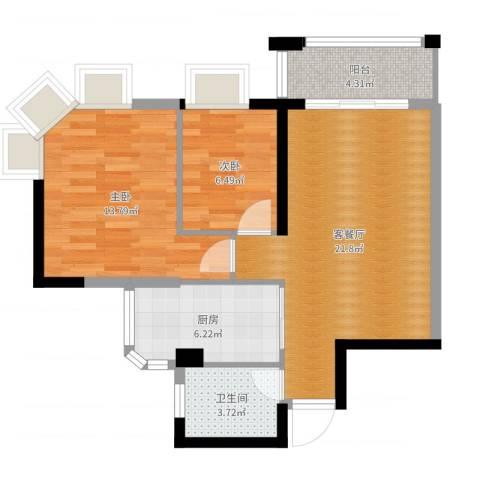 海伦堡花样年华2室2厅1卫1厨70.00㎡户型图