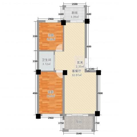 和美雅苑2室2厅1卫1厨88.00㎡户型图