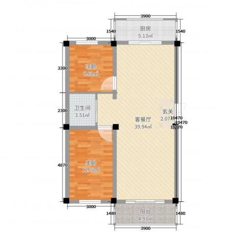 和美雅苑2室2厅1卫1厨98.00㎡户型图