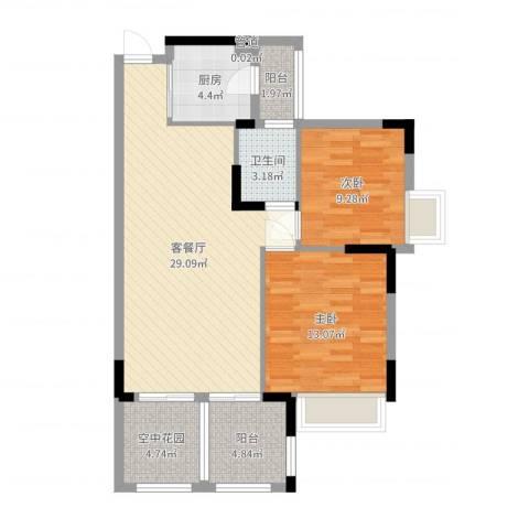 世纪城国际公馆贝丽湖2室2厅1卫1厨88.00㎡户型图
