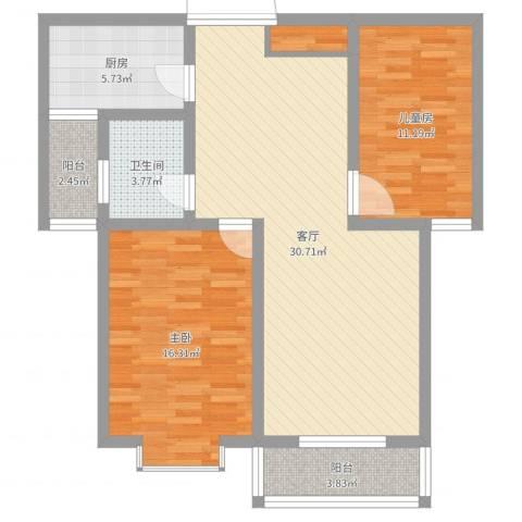 地久艳阳天2室1厅1卫1厨94.00㎡户型图