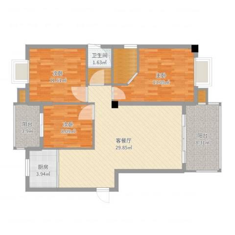 中博富贵世家3室2厅3卫3厨107.00㎡户型图