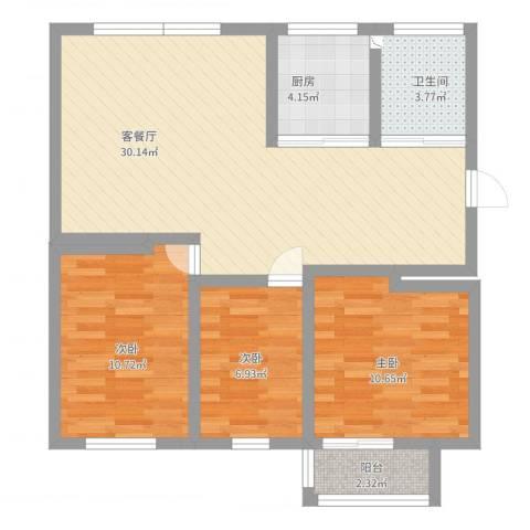 文昌北苑3室2厅1卫1厨100.00㎡户型图
