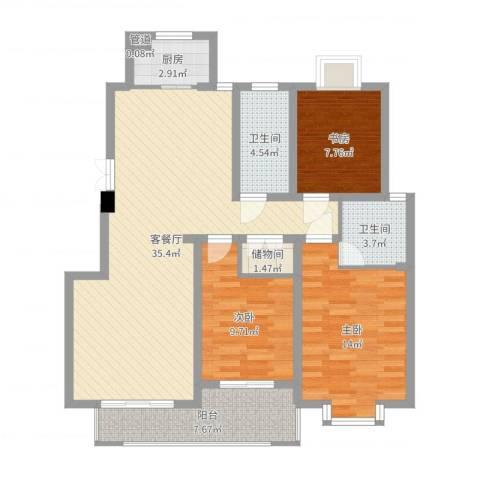 骏和天城3室2厅2卫1厨109.00㎡户型图