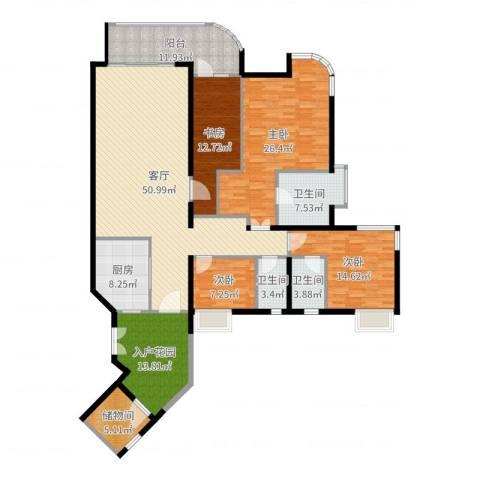 珊瑚水岸4室1厅3卫1厨207.00㎡户型图