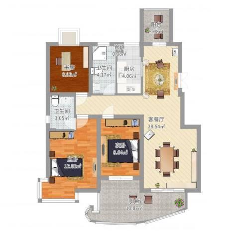 骏和天城3室2厅2卫1厨103.00㎡户型图