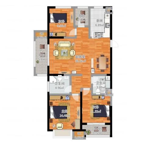 银亿东城3室1厅3卫3厨127.00㎡户型图