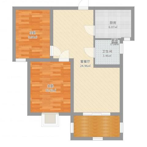 中央花城2室2厅1卫1厨78.00㎡户型图