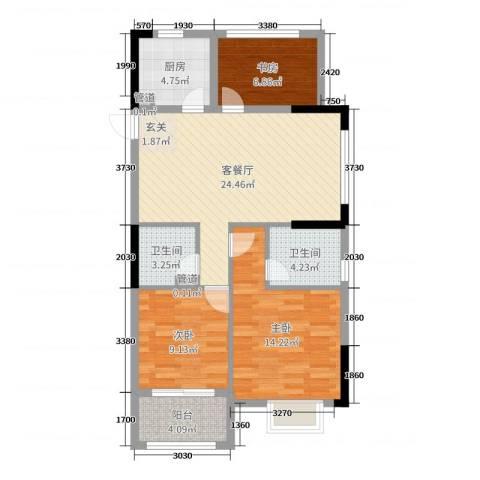 开元九龙湖畔云顶3室2厅2卫1厨89.00㎡户型图