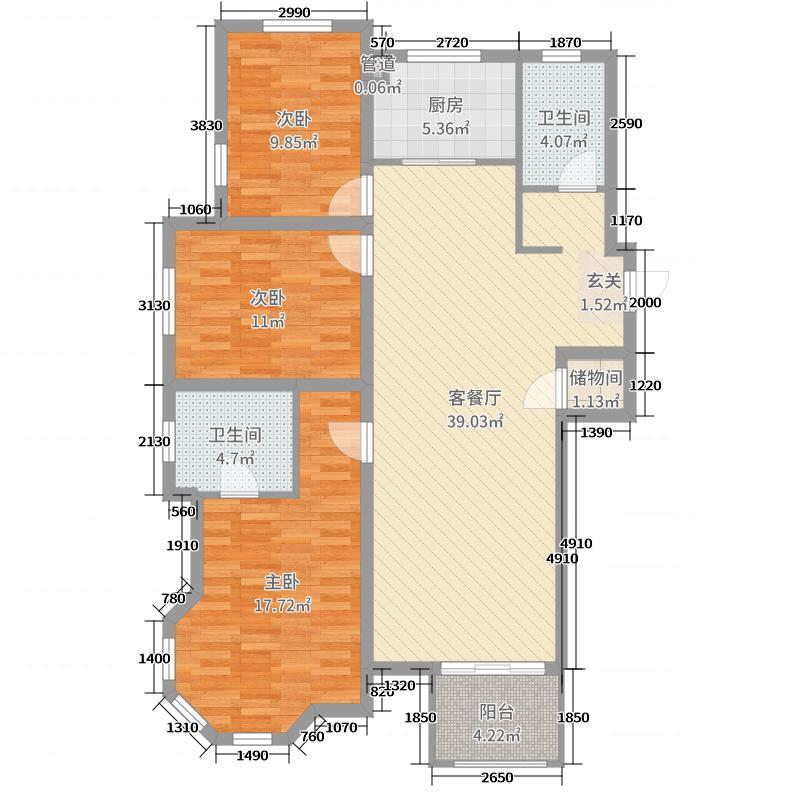 中正・锦城142.00㎡E户型3室3厅2卫1厨