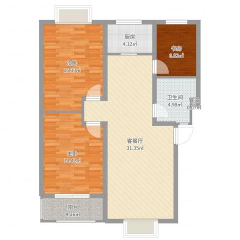 四季春城3室2厅2卫1厨101.00㎡户型图