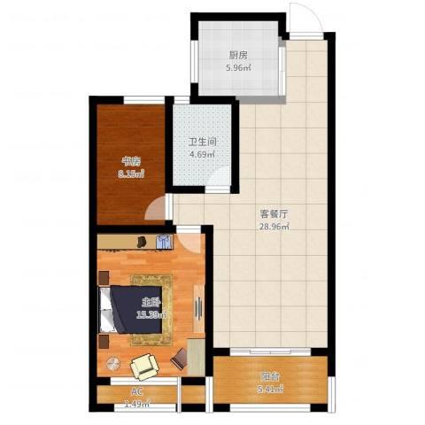建滔裕景园2室2厅1卫1厨88.00㎡户型图