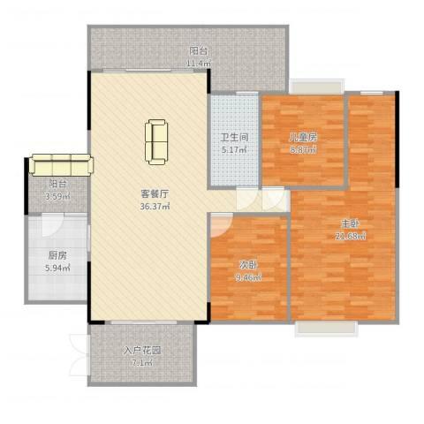尚东雅轩3室2厅1卫1厨137.00㎡户型图