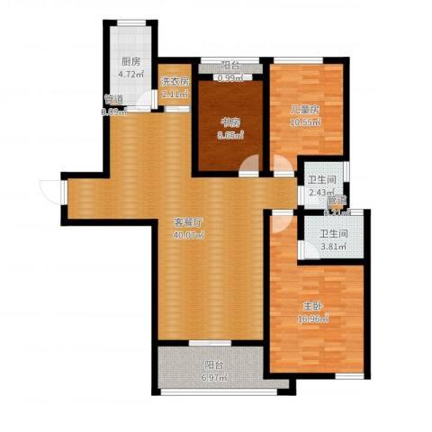 祥瑞东方城3室2厅5卫1厨125.00㎡户型图
