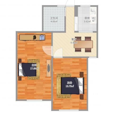罗山七村博山东路2室1厅1卫1厨62.00㎡户型图