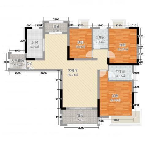 御天城-蟠龙居南区(A)3室2厅2卫1厨127.00㎡户型图