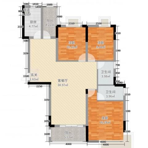 御天城-蟠龙居南区(A)3室2厅2卫1厨120.00㎡户型图