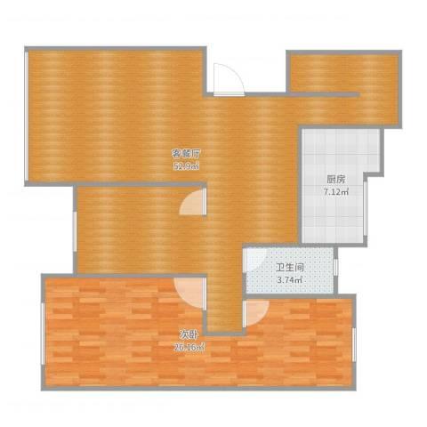 时代阳光3-1-6011室2厅1卫1厨112.00㎡户型图