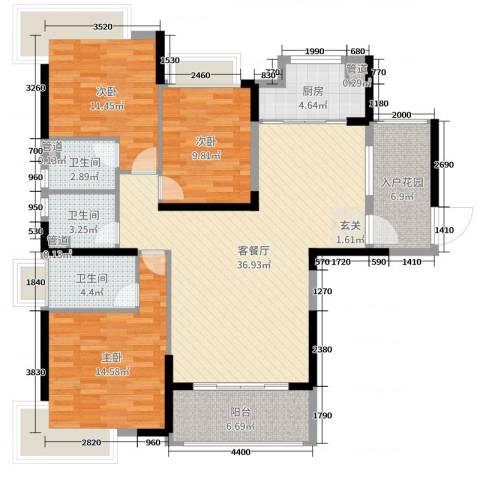 锦绣国际花城3室2厅3卫1厨128.00㎡户型图