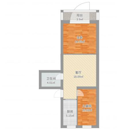 卢沟桥南里26号2室1厅1卫1厨70.00㎡户型图