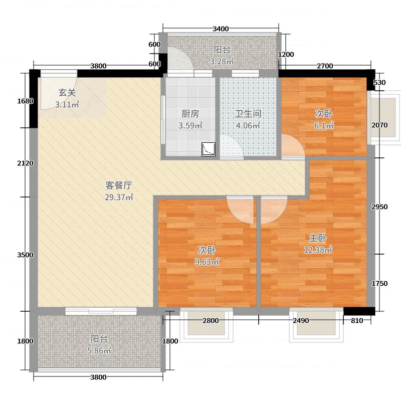 粤宇・碧水湾87.09㎡三期19栋2-17层标准层05户型3室3厅1卫1厨