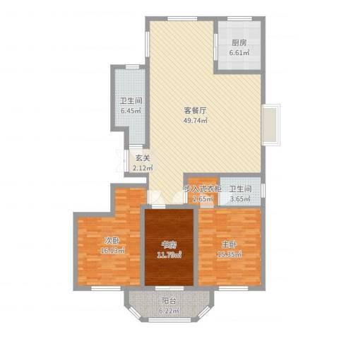 港澳花园3室2厅2卫1厨148.00㎡户型图