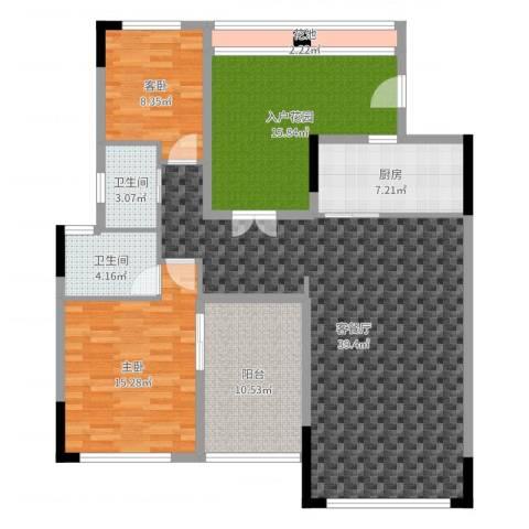 鼎湖森邻3期2室2厅2卫1厨133.00㎡户型图
