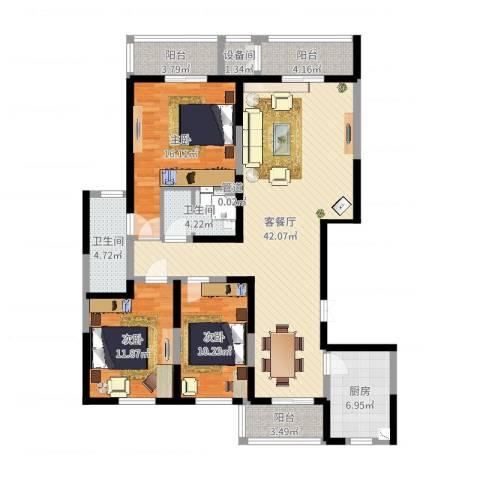 滨河湾城市花园3室2厅4卫1厨136.00㎡户型图