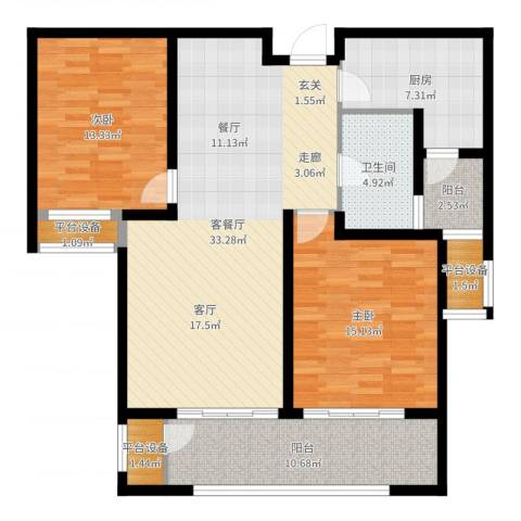 九龙仓擎天半岛2室2厅1卫1厨114.00㎡户型图