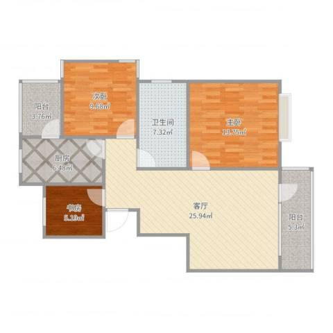 保利维拉家园3室1厅1卫1厨97.00㎡户型图